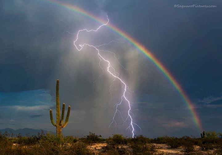 lightning and rainbow