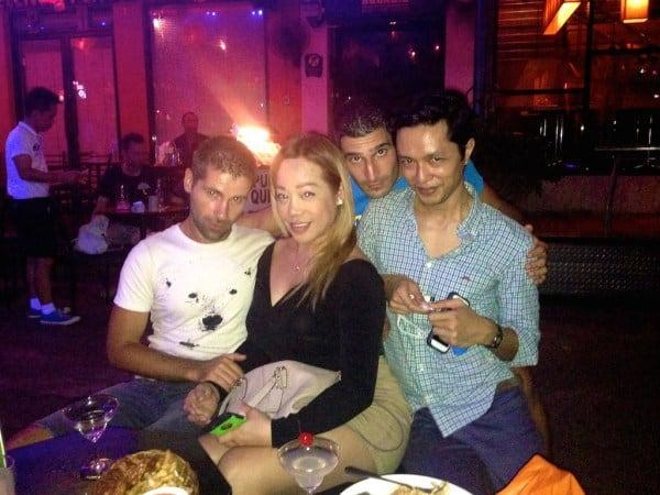 Drinks at the Silom gay bars in Bangkok with Girard and Regina