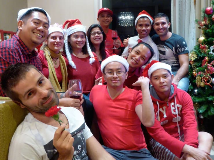 Patrick taking centre stage at our Pinoy Christmas party in Bangkok, Thailand