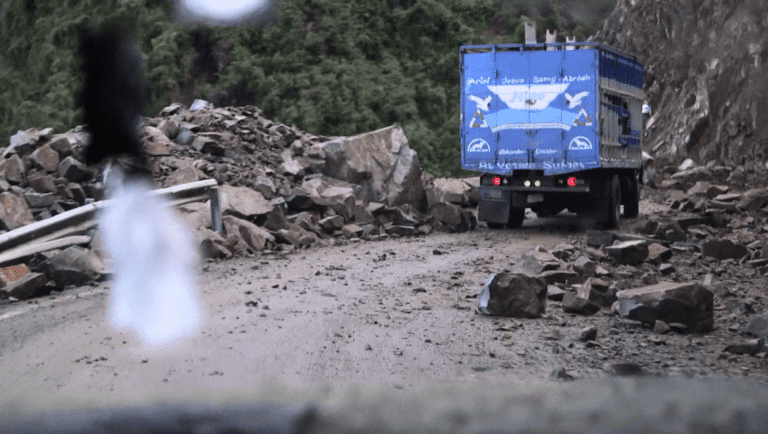 The road to Las Naves snakes through unpaved mountain passes littered with rocks. Jimmy Chalk/GlobalPost