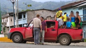 A reporter confronts Montero after spotting him driving by with a truck full of young people. Jimmy Chalk/GlobalPost