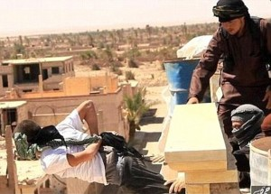 File photo of man reportedly being thrown off roof (Syrian Observatory for Human Rights / courtesy)
