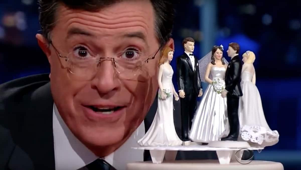Stephen Colbert wedding cake toppers
