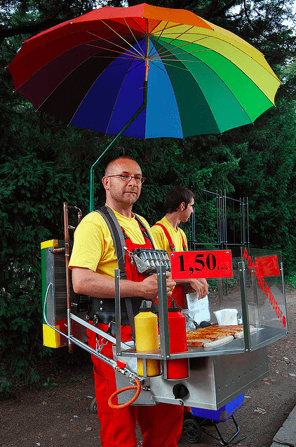 Currywurst vendor, Hamburg, Germany, as seen in Towleroad and ManAboutWorld gay travel magazine