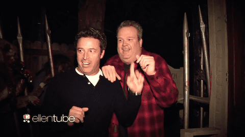Eric stonestreet visits haunted house with ellen 39 s for Eric stonestreet house