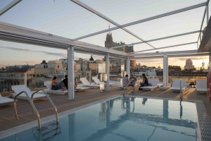 The Oscar Hotel Pool, Madrid, Spain in Towleroad and ManAboutWorld gay travel magazine