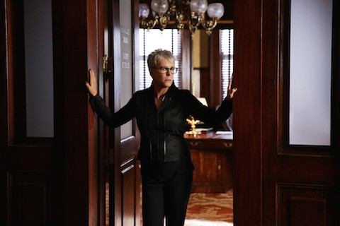 """SCREAM QUEENS: Jamie Lee Curtis in the """"Beware Of Young Girls"""" episode of SCREAM QUEENS airing Tuesday, Nov. 3 (9:00-10:00 PM ET/PT) on FOX. ©2015 Fox Broadcasting Co. Cr: Patti Perret/FOX."""