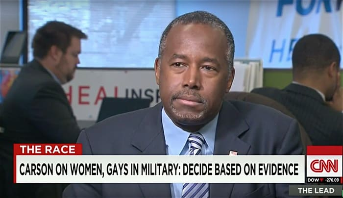 Ben Carson banning gays from military
