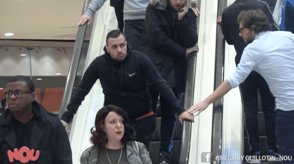 escalator prank