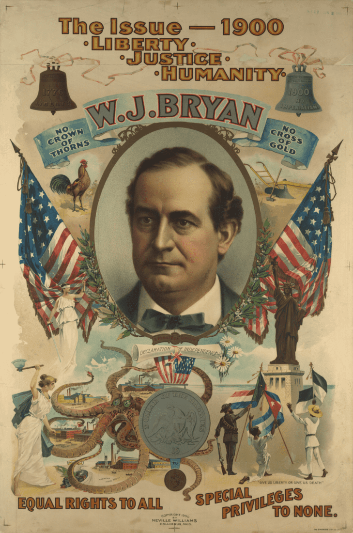 William Jennings Bryan, a populist who first emerged as a dark horse candidate in the 1896 presidential election and became one of the most popular politicians of his time, never became president despite running for office in 1896, 1900, and 1908. Credit: US Library of Congress/Wikimedia Commons