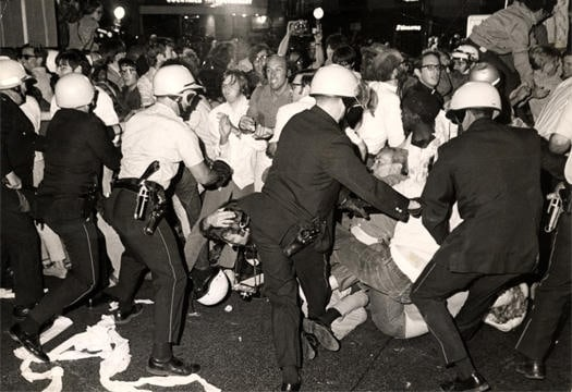 Nearly a century after the Democrats divided over slavery, the 1968 Democratic National Convention was contested, but not over party politics. Mayor Richard J. Daley sent police officers and the National Guard to suppress convention protestors who advocated for racial equality, civil rights and an end to the Vietnam War. Credit: Courtesy of Wikipedia