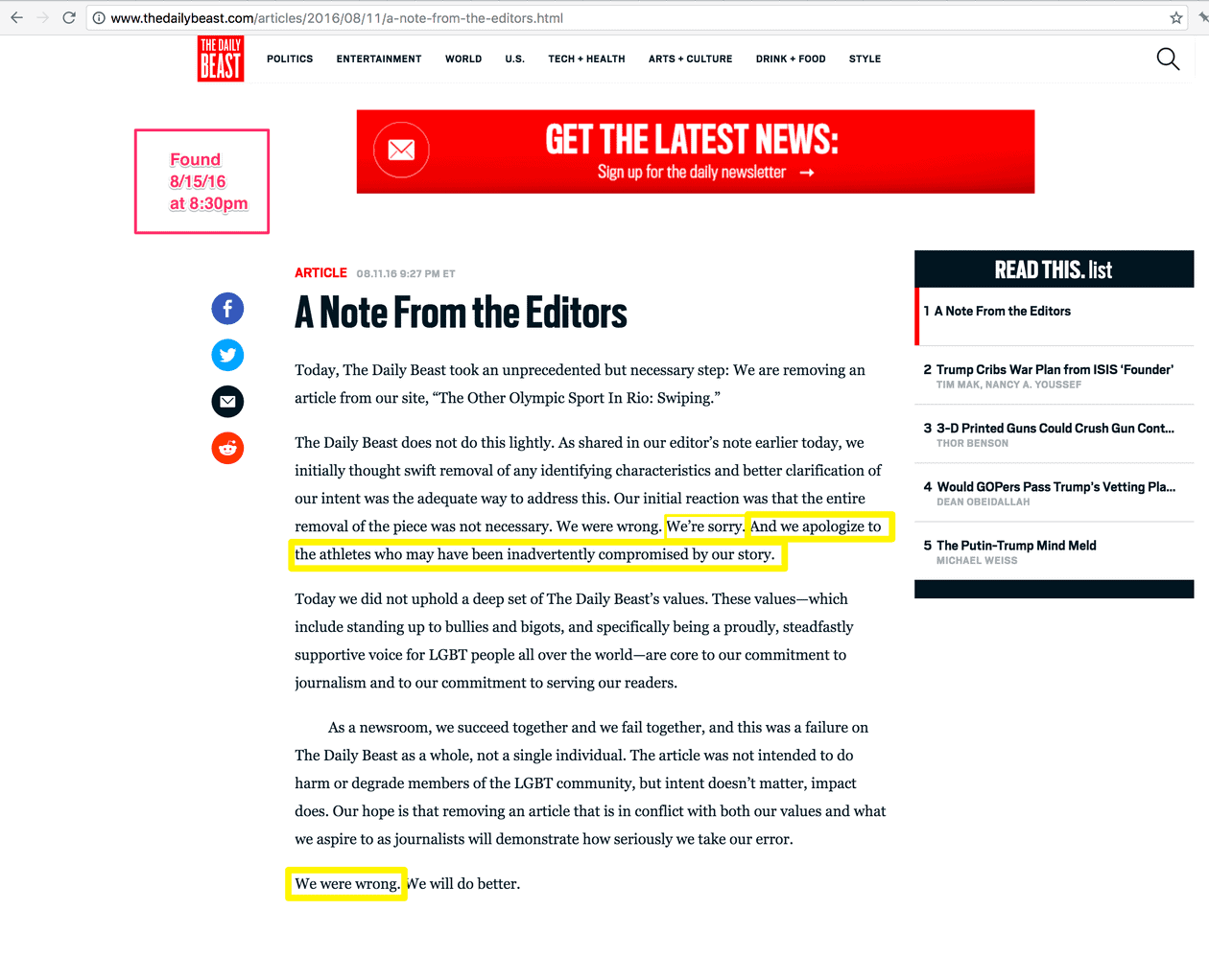 thiel outing daily beast apology