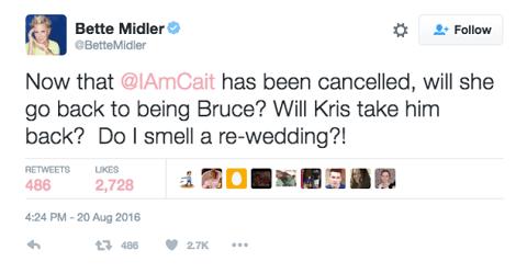 Bette Midler Caitlyn Jenner Tweet