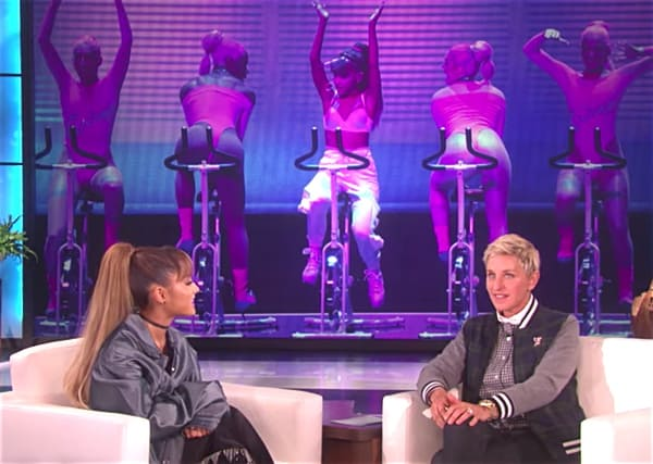Ariana Grande Ellen dick bicycle