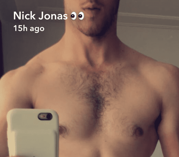 Nick Jonas Bares His Fuzzy Sculpted Chest On Snapchat Look