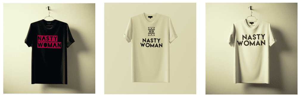 """women's march: Bland's """"Nasty Woman"""" Tshirts"""