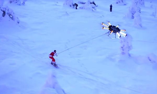 drone snowboarding