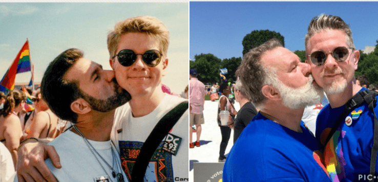 gay couple 39 s pride flashback photo collage goes viral towleroad. Black Bedroom Furniture Sets. Home Design Ideas