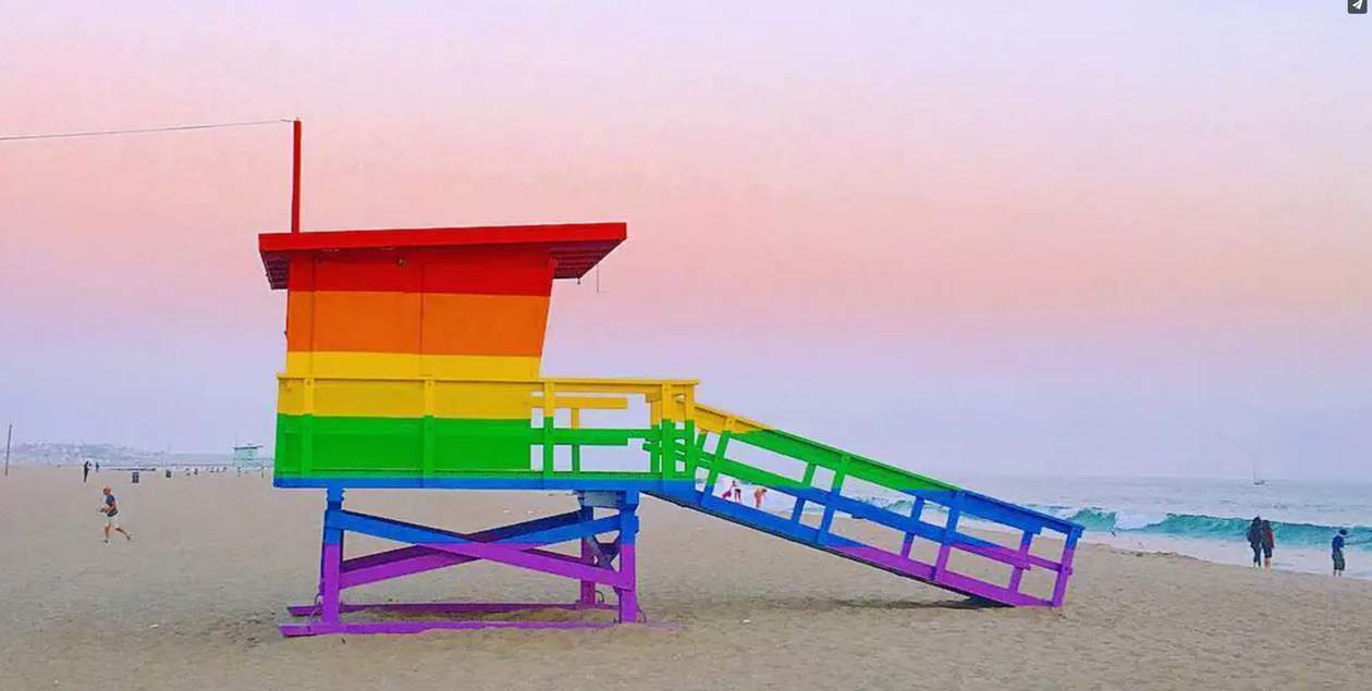 rainbow lifeguard tower