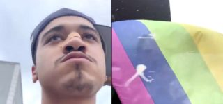 NYC Gay Bar Wants to Identify This Man, Who Recorded Himself Spitting on Their Pride Flag: WATCH