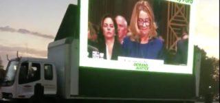 Protesters Troll Federalist Society's Brett Kavanaugh Black Tie Dinner Attendees with Massive Video Billboard of Christine Blasey Ford Testimony: WATCH