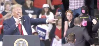 Trump Rips 'Politically Correct' Security Guard at PA Rally for Not Removing Protester Quickly Enough: 'Get Her Out' — WATCH