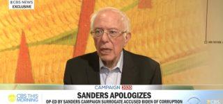 Bernie Sanders Apologizes for Surrogate's Op-Ed Accusing Joe Biden of 'Corruption Problem' — WATCH