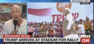 Trump Walks into Stadium of 120,000 in India to Village People's 'Macho Man' — WATCH