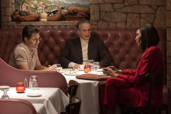 "Chris Tardio as Vincent Massino, Mark Lotito as Mario Ciccone, Dominique Jackson as Elektra on POSE -- ""Something Borrowed, Something Blue"" -- Season 3, Episode 5."