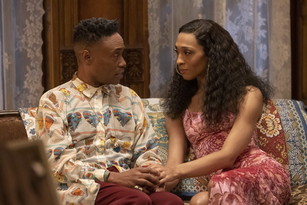 Billy Porter as Pray Tell, Mj Rodriguez as Blanca in Pose.