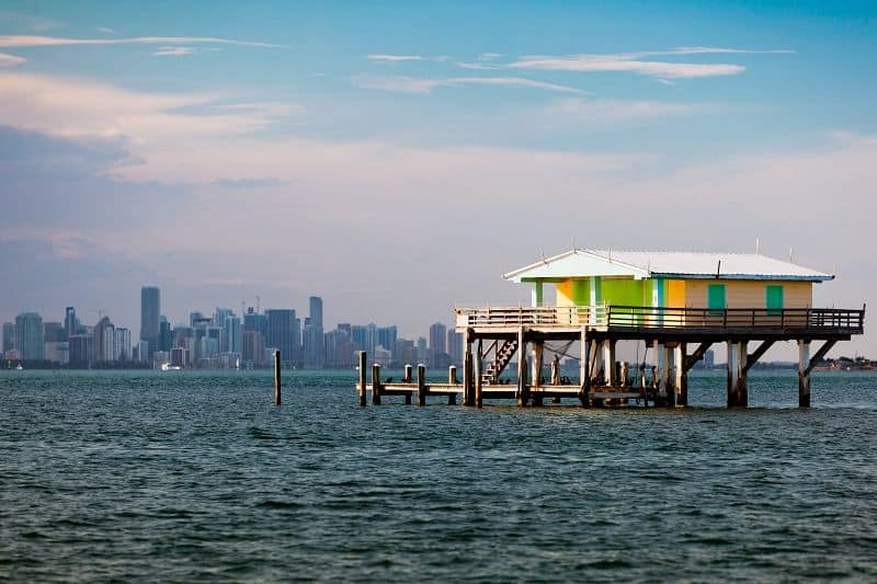 One of the remaining Stiltsville structures hovering above Biscayne Bay. Photo courtesy of the GMCVB .