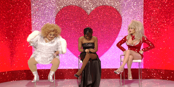 Ginger as Phyllis Diller, Trinity as Whitney Houston and Kylie as Dolly Parton on RuPaul's Drag Race All Stars.